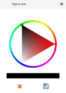 Selección del color. Triángulo-esfera